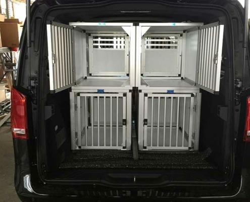 Vier hondenboxen in auto